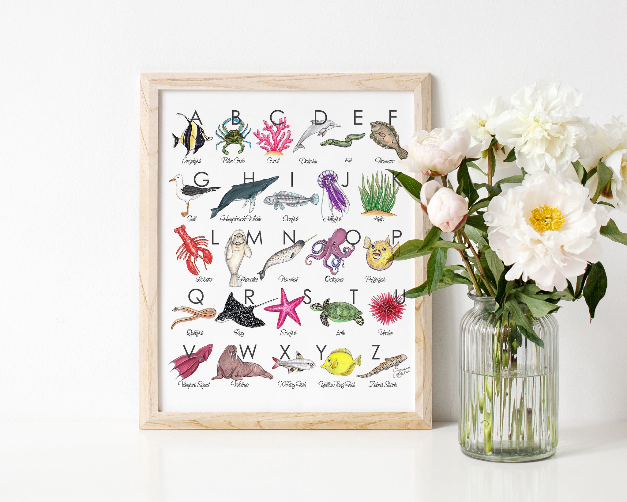 Sea Creature Illustrated Alphabet Art Print
