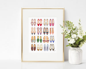 All The Shoes (Flats) Fashion Illustration Art Print