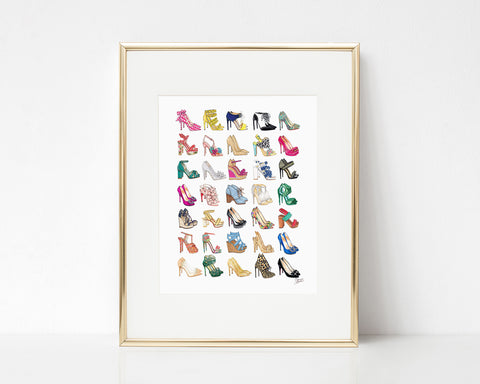 All The Shoes (Heels) Fashion Illustration Art Print