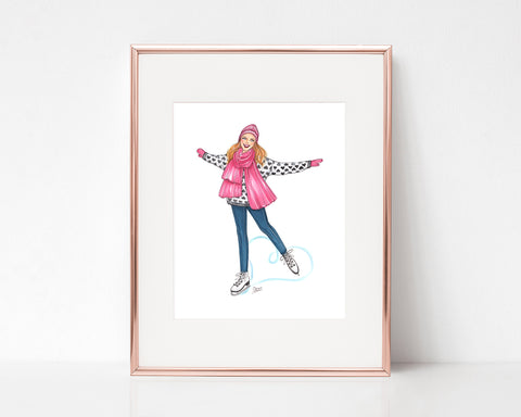 Skating Hearts Fashion Illustration Art Print