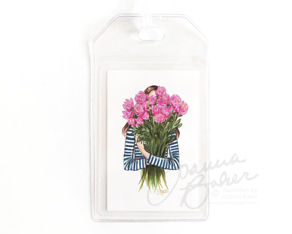 Stripes & Peonies Luggage Tag