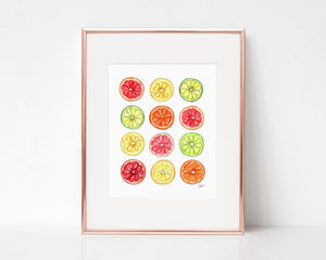 Summer Citrus Illustration Art Print