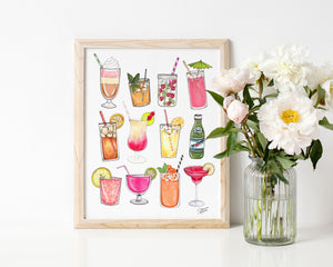 Summer Drinks Illustration Art Print