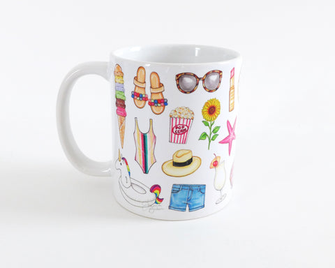 Summer Favorites Fashion Illustration Mug