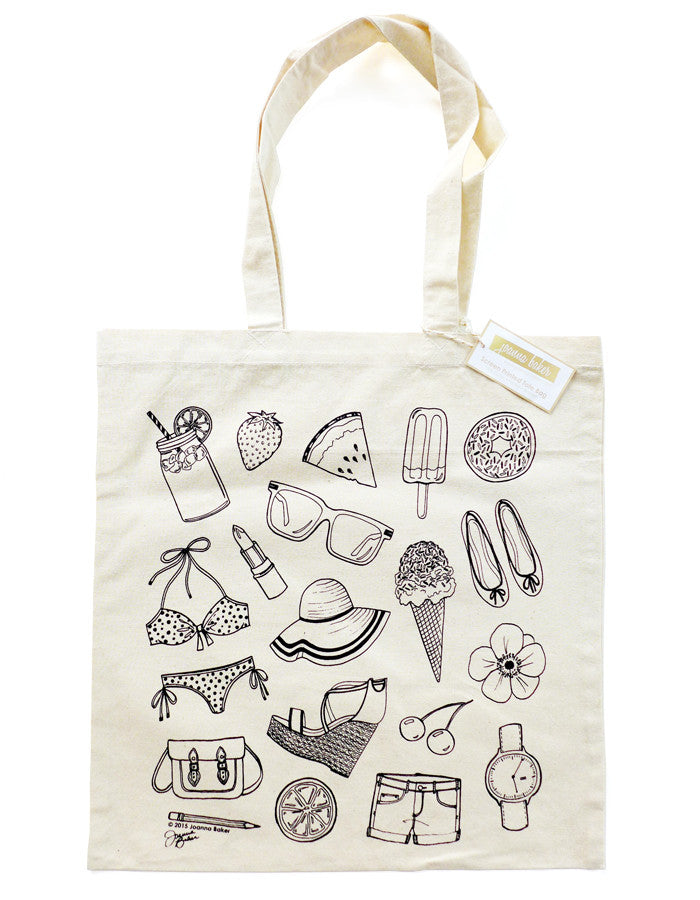 Summery Sketches Canvas Tote Bag