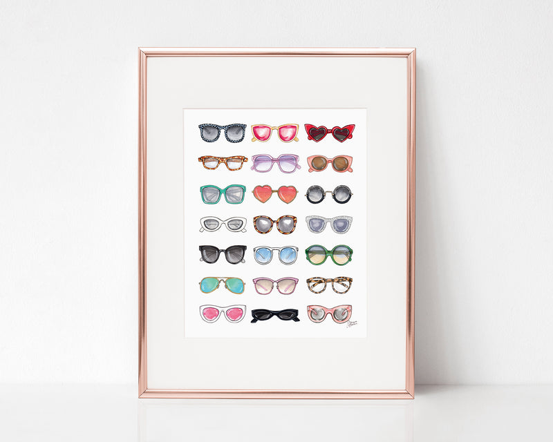 All The Sunglasses Fashion Illustration Art Print