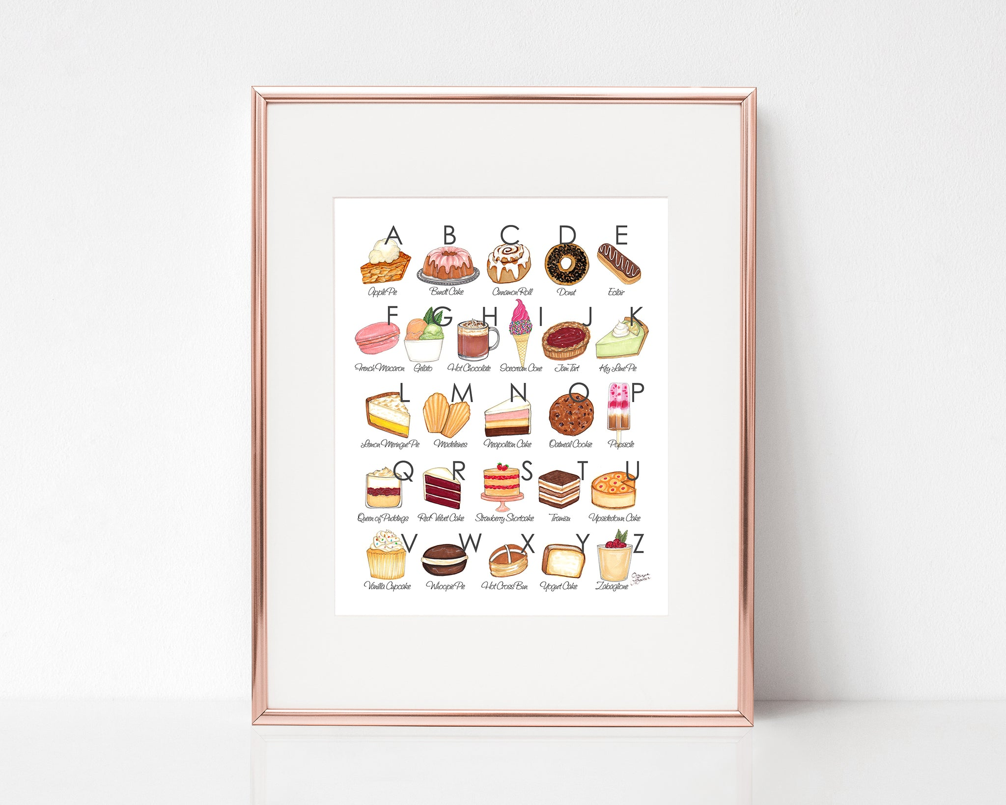 Sweet Treats Illustrated Alphabet Art Print