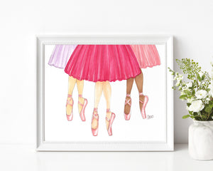 Tutu Trio Fashion Illustration Art Print