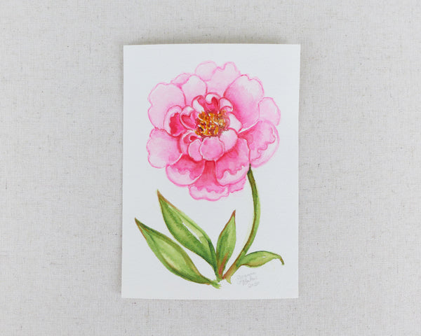 """Vibrant Peony"" an Original Watercolor Painting"
