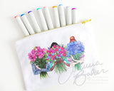 Vibrant Blooms Fashion Illustration Canvas Zippered Pouch