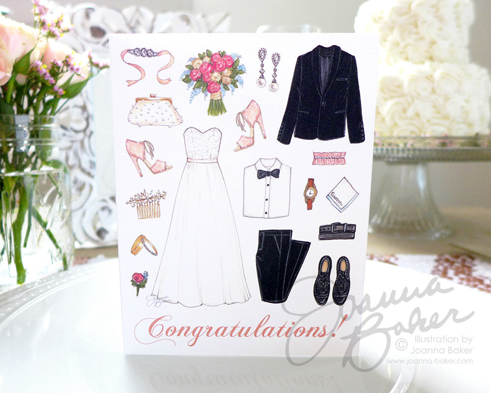 Wedding Congrats Folded Note Card - Single Card