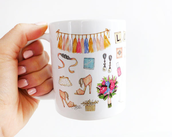 Wedding Favorite Things Fashion Illustration Mug
