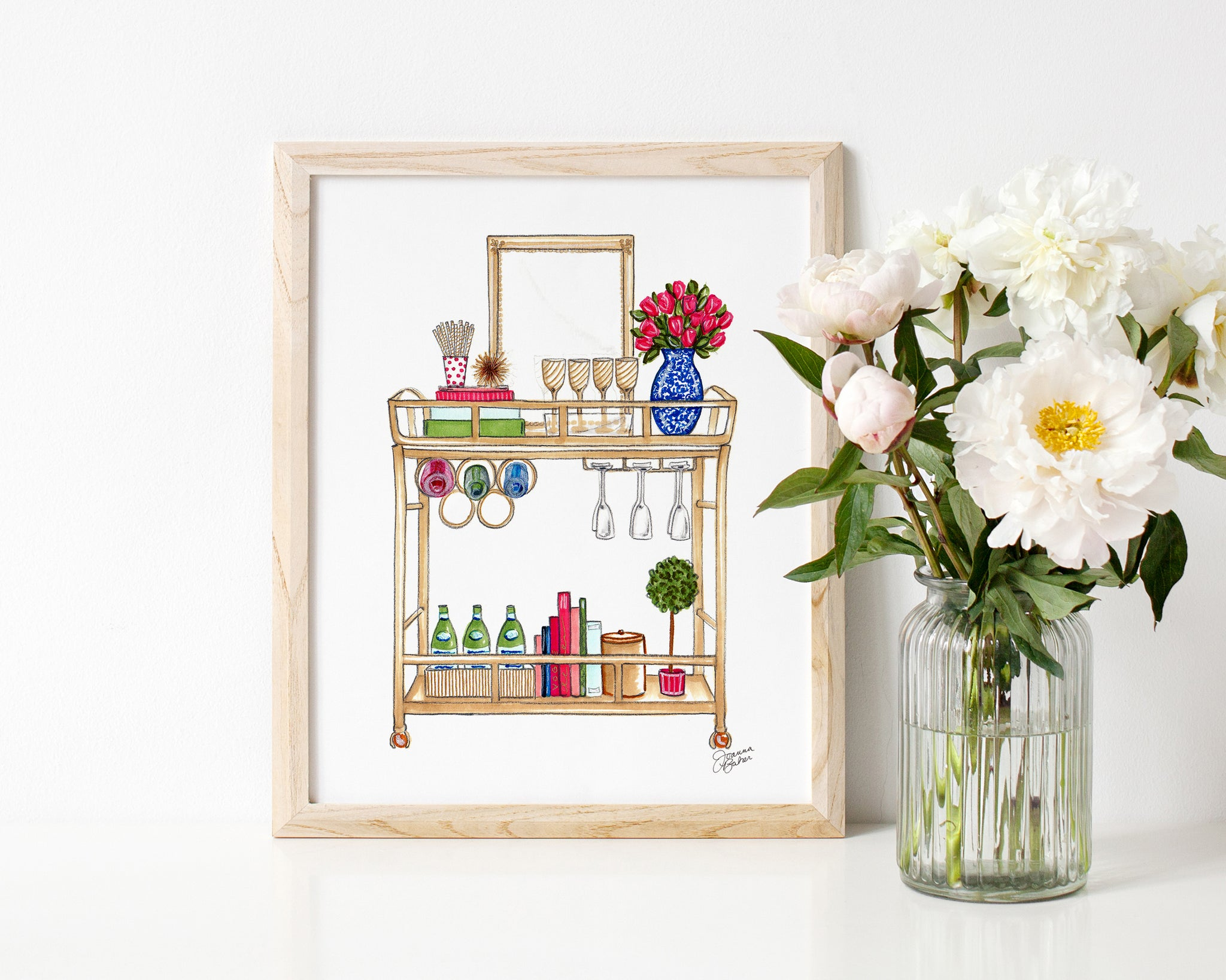 Well Appointed Bar Cart Illustration Art Print