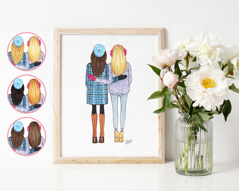 Winter Besties Fashion Illustration Art Print
