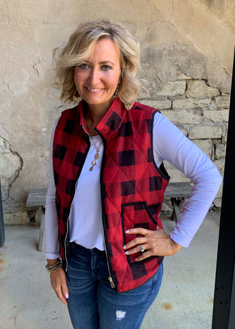 Red Black Plaid Vest