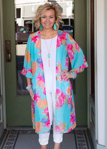 Dark Mint/Coral/Orange Long Kimono