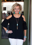 Black Cold Shoulder With Ruffle top