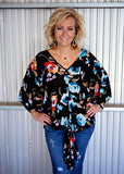 Black Floral Blouse top
