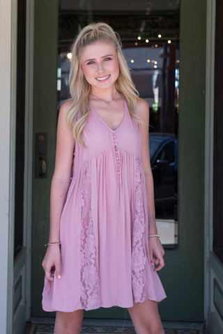 Dusty pink sleeveless a-line dress