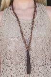 Dark Brown Bead with Brown tassel necklace , Lucky Rhinestone Boutique - 1