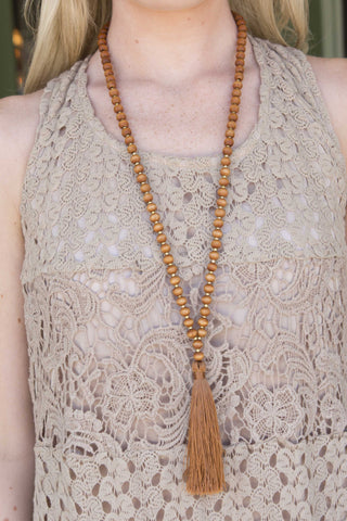 Rust Bead with rust tassel necklace , Lucky Rhinestone Boutique - 1