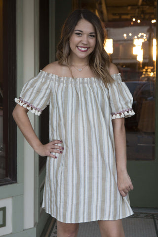 Cream and taupe striped short sleeve with fringe