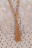 Rust Bead with rust tassel necklace , Lucky Rhinestone Boutique - 2