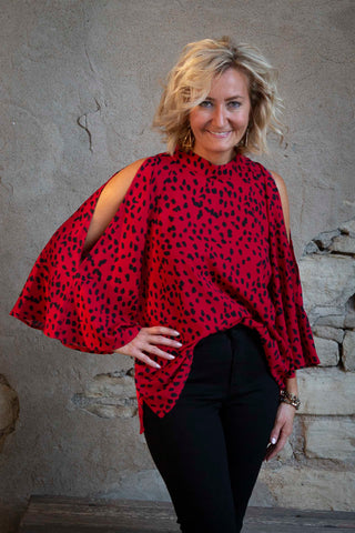 Red Black Mix Blouse Top