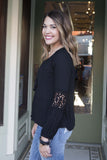 Black boho long sleeve blouse , Lucky Rhinestone Boutique - 1