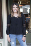 Black boho long sleeve blouse , Lucky Rhinestone Boutique - 3
