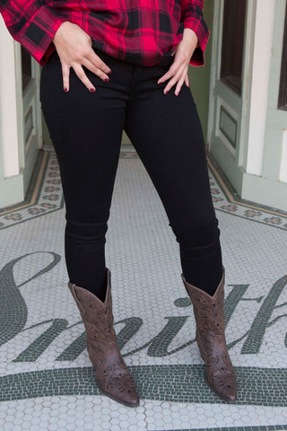 Black mid rise skinny jeans , Lucky Rhinestone Boutique - 1