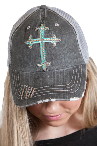 Gray trucker hat with Teal Swarovski cross , Lucky Rhinestone Boutique - 1