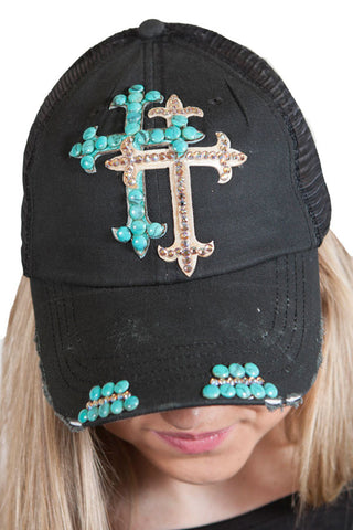 Black Trucker hat with Taupe and Teal Double Swarovski cross , Lucky Rhinestone Boutique - 1