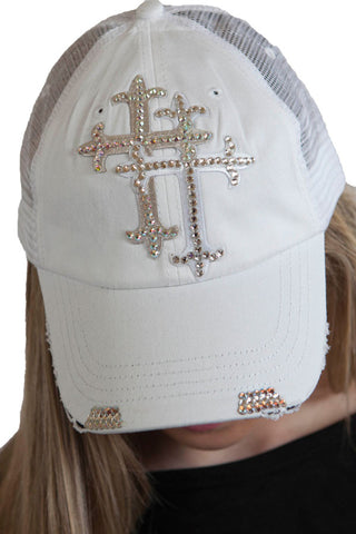White Trucker hat with Double Swarovski cross , Lucky Rhinestone Boutique - 1