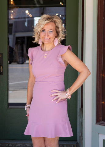 Misty pink ruffled cap sleeve dress