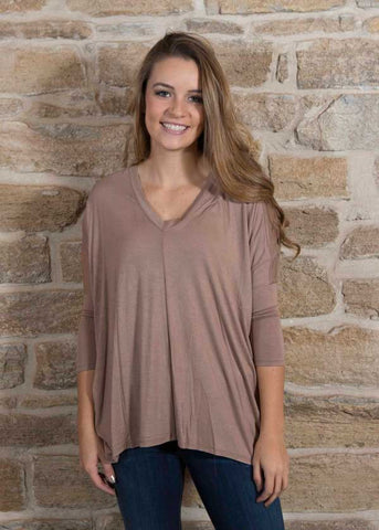 Taupe Rayon Tee with Chiffon Back 3/4 sleeve , Lucky Rhinestone Boutique - 1
