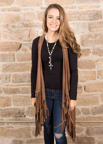 Chocolate suede cowboy fringe vest , Lucky Rhinestone Boutique - 1