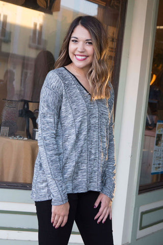 Gray long sleeve v neck , Lucky Rhinestone Boutique - 1