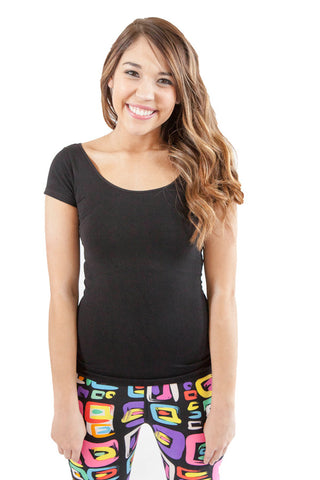 Niki Biki Short Sleeve Black One Size Fits Most , Lucky Rhinestone Boutique - 1