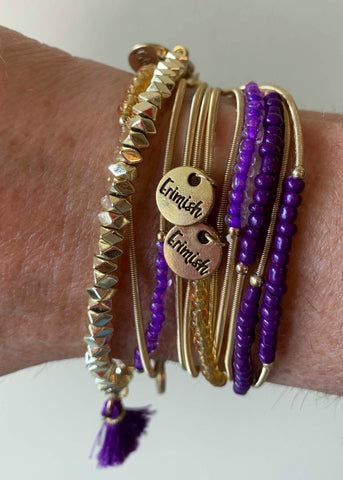 Gold Purple Game Day Erimish Bracelet
