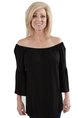 Shirt with 3/4 Bell Sleeves S / Black, Lucky Rhinestone Boutique - 1