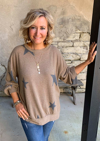 Mocha cashmere star top
