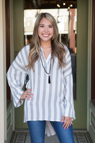 Black White Striped Tunic