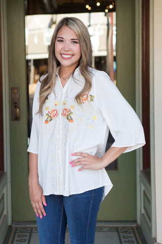 Ivory Embroidered Top with Bell Sleeves