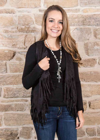 Black Faux Fringe Vist , Lucky Rhinestone Boutique - 1