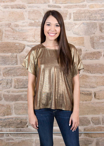 Gold shimmer short sleeved top , Lucky Rhinestone Boutique - 1