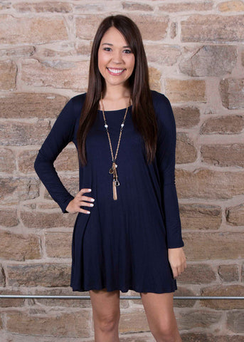 Navy Rayon Long Sleeve A Cut Tunic / Dress , Lucky Rhinestone Boutique - 1