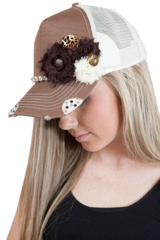 Mocha and cream trucker hat with rhinestone and floral embelishments , Lucky Rhinestone Boutique - 1