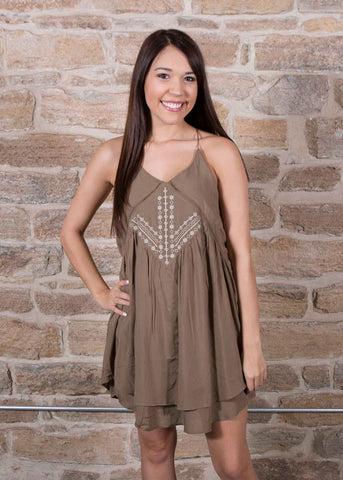 Olive front embroidered tank dress , Lucky Rhinestone Boutique - 1