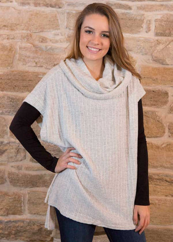 Heather Gray cowl neck high low tunic , Lucky Rhinestone Boutique - 1